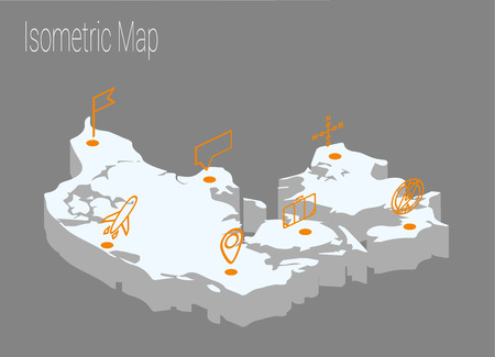 Map Denmark isometric concept. 3d flat illustration of Map Denmark. Illustration