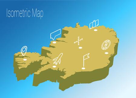 Iceland isometric map design.