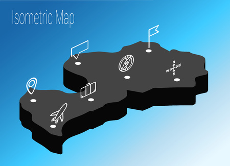 Map Latvia isometric concept. 3d flat illustration of Map Europe.