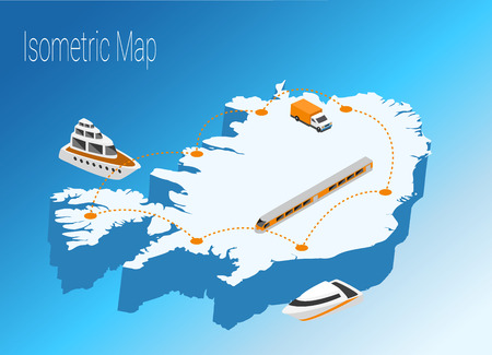 Map Iceland isometric concept. 3d flat illustration of Map Iceland.