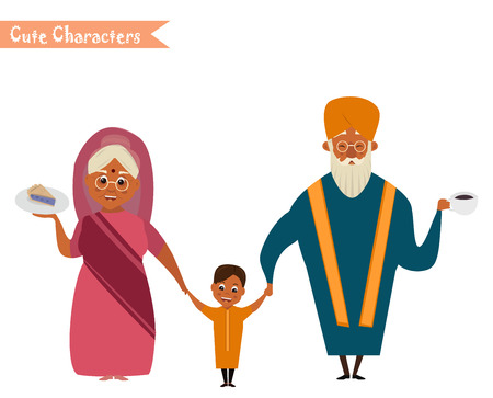 happy indian family in national dress isolated vector illustration. grandparents and children cartoon characters. senior couple with grandchildren Illusztráció