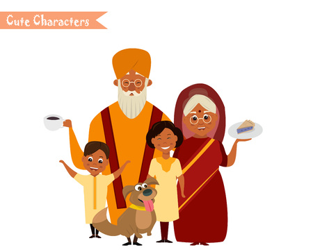 happy indian family in national dress isolated vector illustration. grandparents and children cartoon characters. senior couple with grandchildren Illustration