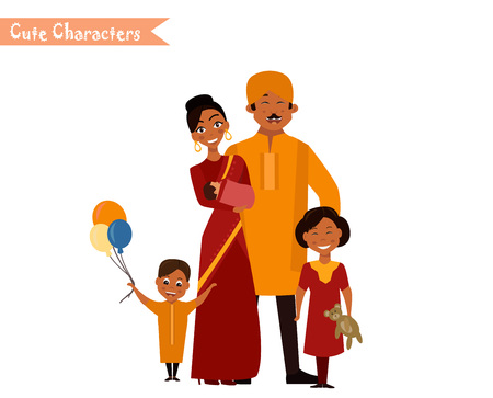 Big happy indian family in national dress isolated vector illustration. Parents and children cartoon characters. Family generations standing together