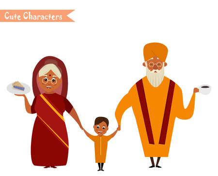 Happy Indian family in national dress isolated vector illustration. grandparents and children cartoon characters. senior couple with grandchildren.