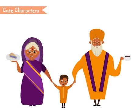 happy indian family in national dress isolated vector illustration. grandparents and children cartoon characters. senior couple with grandchildren  イラスト・ベクター素材