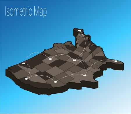 Map USA isometric concept. 3d flat illustration of Map USA