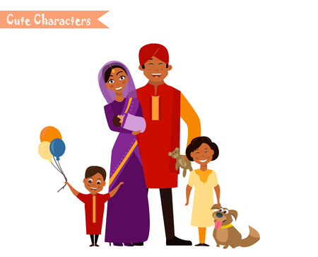 Big happy indian family in national dress isolated vector illustration. Parents and children cartoon characters. Family generations standing together.