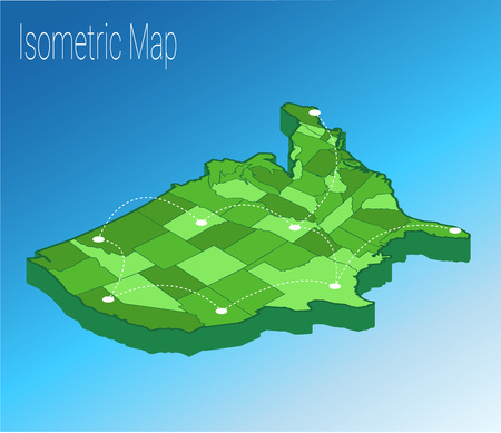 Map USA isometric concept. 3d flat illustration of Map USA. Illustration
