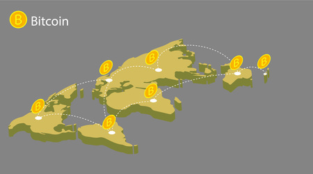 Flat modern design concept of cryptocurrency technology, bitcoin exchange, bitcoin mining, mobile banking. World map with coins bitcoin. transfer bitcoin around the world