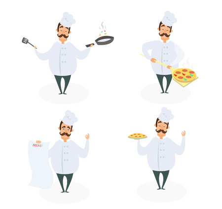 Funny characters of chef in action poses. Vector illustrations in cartoon style. Chef cartoon cooking in restaurant. Illustration
