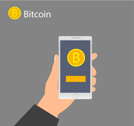 Flat design with human hands, smartphones and golden bitcoins. Eps 10 vector file. Flat modern design concept of cryptocurrency technology, bitcoin exchange, bitcoin mining, mobile banking. Ilustrace