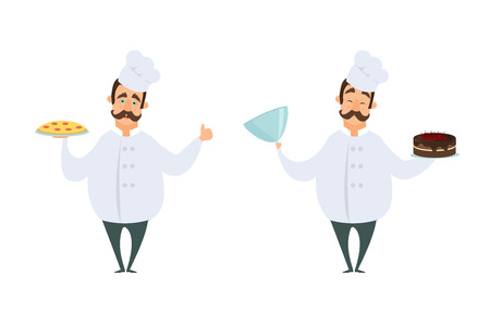 Funny characters of chef in action poses. Vector illustrations in cartoon style. Chef cartoon cooking in restaurant