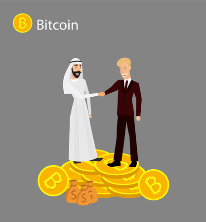 Isometric businessman investor on a stack of bitcoin. The concept for web or infographics vector illustration. Earnings growth mining crypto. Vector illustration Illustration