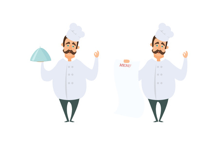 Funny characters of chef in action poses in cartoon style. Chef cartoon cooking in restaurant