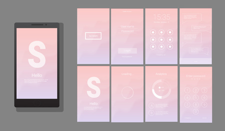 Modern UI, GUI screen vector design for mobile app with UX and flat web icons. Wireframe kit for Lock Screen, Login page, Enter Passcode, Application Loading, Text Messages and Stats Chart.