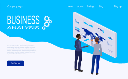 web page design template for creative and innovative solutions, business services, management and analytics. Modern vector illustration concepts for website development