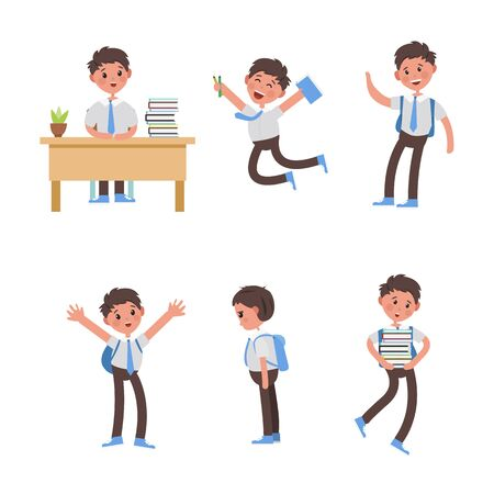 cute children go to school. A student with a bag, books, pencils returns to school. Set of cute school kids. Set of boys with school supplies. Education vector. isolated boy Vector Illustration