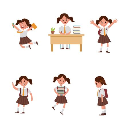 cute children go to school. A student with a bag, books, pencils returns to school. Set of cute school kids. Set of girls with school supplies. Education vector. isolated boy Ilustração