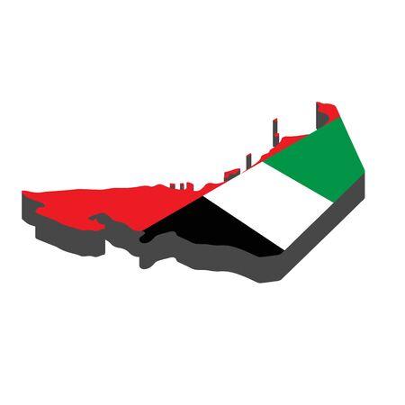 Map United Arab Emirates isometric concept. 3d flat illustration of Map UAE.