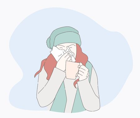 symptoms of a cold patient. hand drawn style vector design illustrations. runny nose character. Health And Pain. the girl is sick