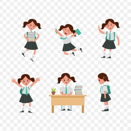cute children go to school. A student with a bag, books, pencils returns to school. Set of cute school kids. Set of girls with school supplies. Education vector. transparent