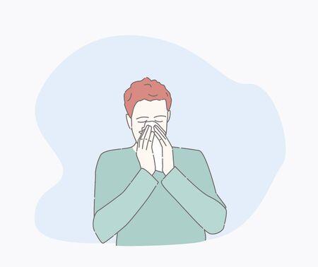 objawy przeziębienia pacjenta. ręcznie rysowane ilustracje wektorowe stylu. postać z katarem. Zdrowie I Ból. facet jest chory