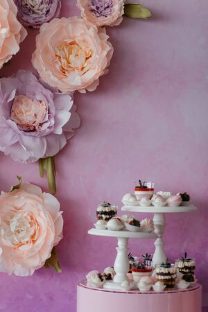 Catering sweets at the pink background with flowers with the place for your text. Dessert. Dessert table. High quality photo
