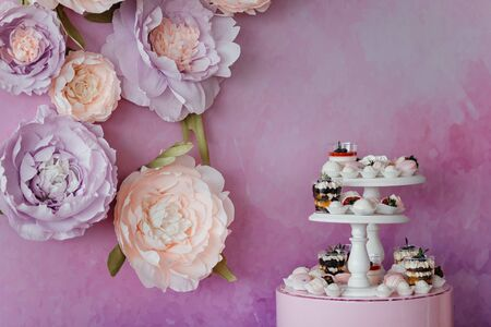 Wedding sweets catering with panna cota, meringues and fruits in chocolate at the pink flower background with the place for your text. Dessert.
