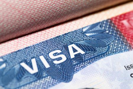 Visa stamp travel passport immigration macro emigration Standard-Bild