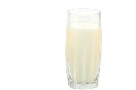 health symbols metaphors: milk food glass isolated white drink dairy product Stock Photo