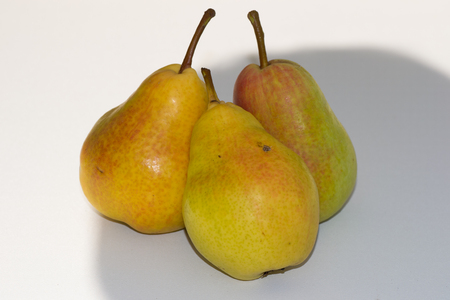 food on white: pear food white fruit on color background eating