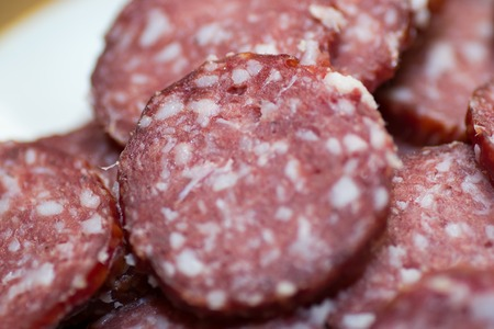 meat food: salami sausage meat food isolated background spicy