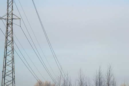 electricity grid: power electricity transmission tower winter grid pole blue