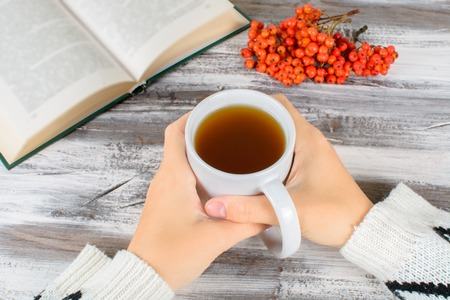black sweater: Chokeberry mug in hand on a wooden background in autumn still life Stock Photo