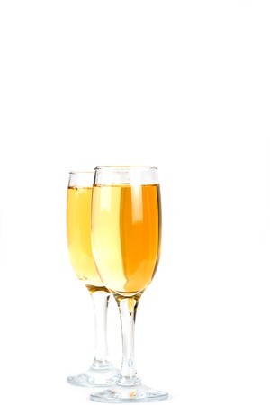 two glasses of champagne close up white