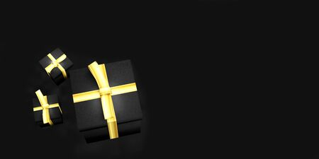 gift box on black background in 3D rendering Stock Photo