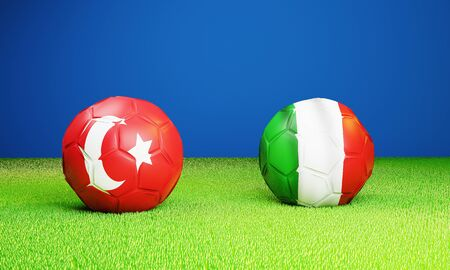 opening match Turkey vs Italy soccer ball on lawn 3D rendering Stock Photo
