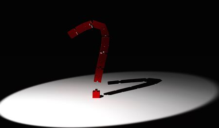 QUESTION MARK from 3D render PUZZLES on BLACK background brightly lit Stock Photo