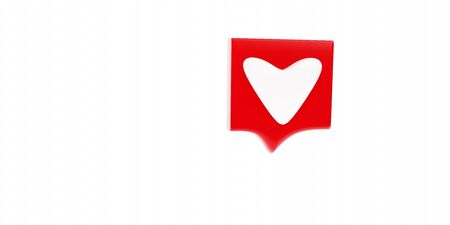 red heart 3D rendering on white background
