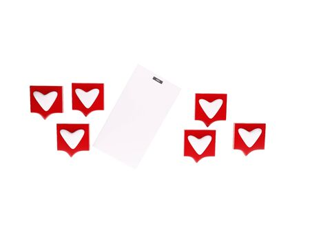 red heart and one PHONE 3D rendering on white background Stock Photo