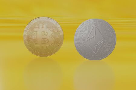 bitcoin coin on yellow gold Ethereum background 3D rendering