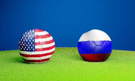 USA vs Russia soccer ball on lawn 3D rendering