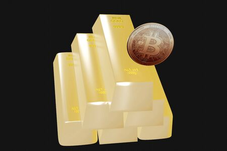 bitcoin coin on yellow gold background 3D rendering