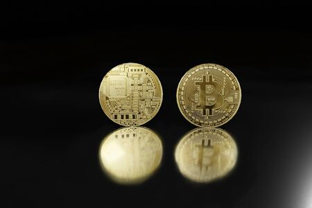 bitcoin coin on black background 3D rendering Stock Photo