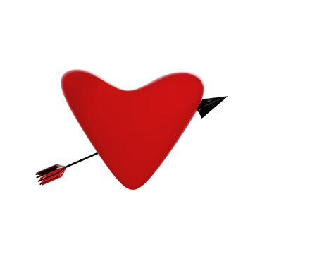 red heart with arrow 3D rendering on white background