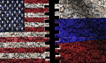 Us vs. Russia brick wall with flag in 3D rendering