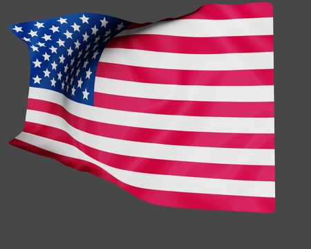 3D rendering USA flag waving in the wind