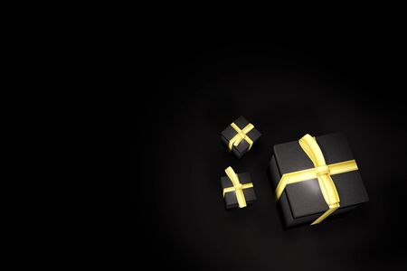 gift box on black background 3D rendering