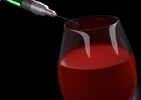 through a syringe, poison is injected into a glass of wine .Alcohol poisoning 3D rendering