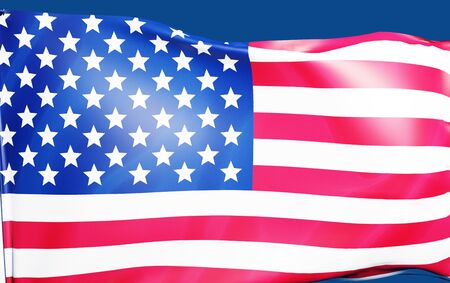 3D rendering banner USA flag waving texture